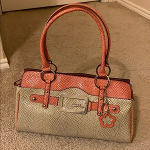 GUESS tote—salmon and cream with croc print